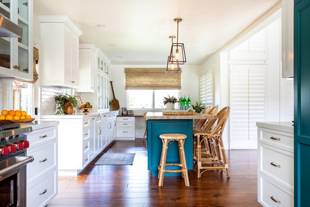 color in kitchen - westlake kitchen - teal kitchen island