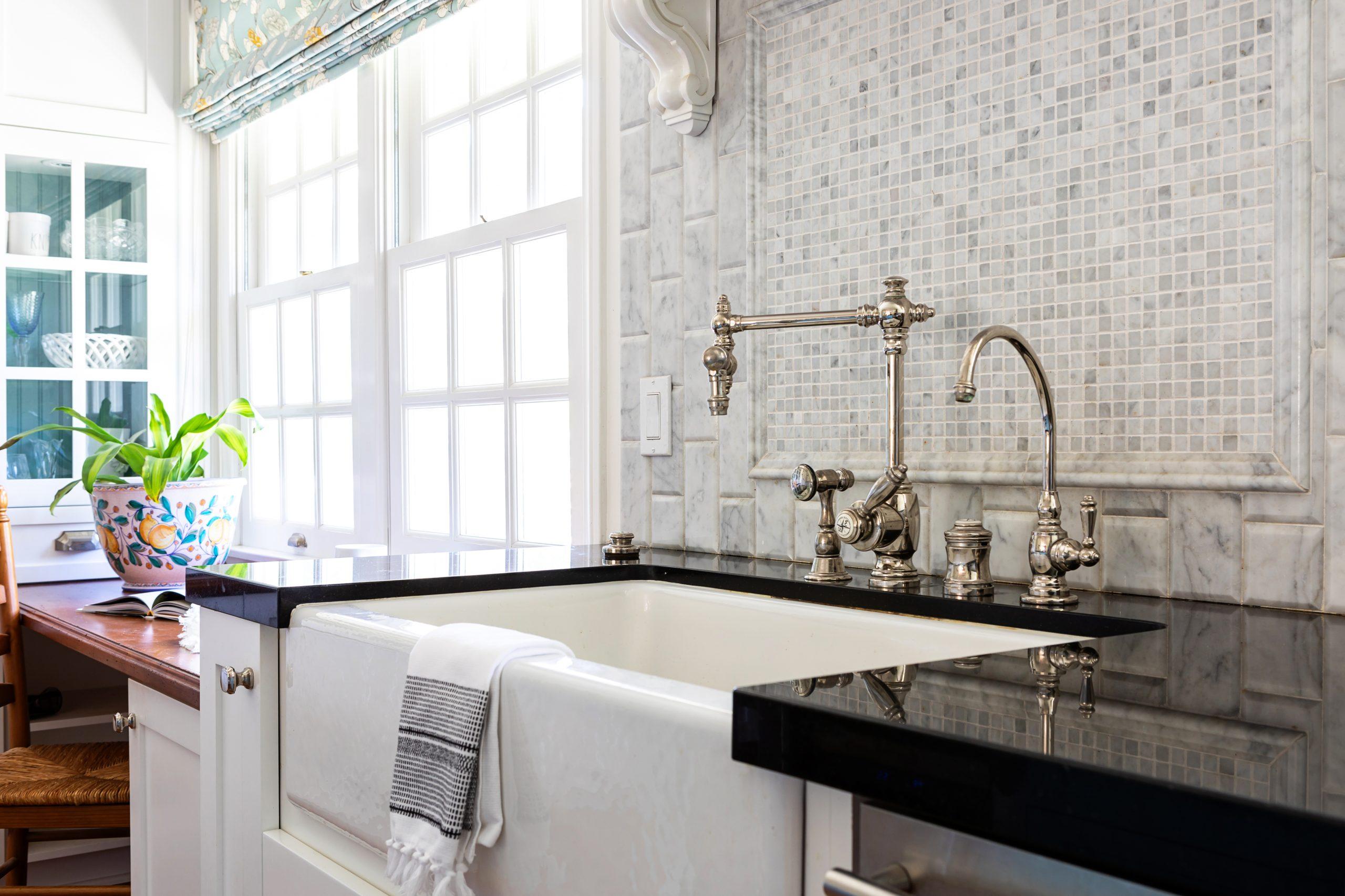 Kitchen Renovation in Hidden Hills, CA - JLK interiors - bright, family-friendly kitchen - sink between windows